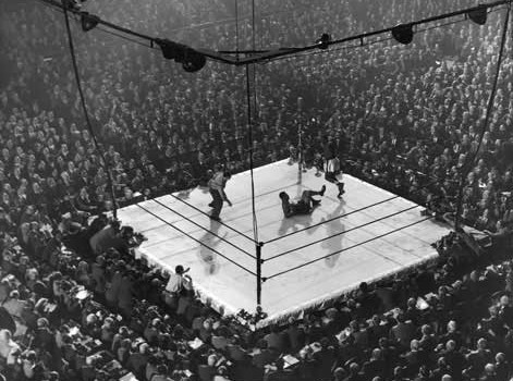 The view from the stands when Walcott scored his second knockdown of the fight in round four.