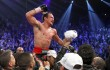 Juan Manuel Marquez of Mexico celebrates his 6th round knock out victory over Manny Pacquiao of the Philippines during their welterweight fight at the MGM Grand Garden Arena in Las Vegas