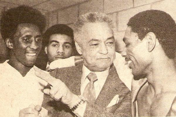 "Maserati Rick (background) with Tommy ""The Hitman"" Hearns (far left), Detroit Mayor Coleman Young and Hilmer Kenty in 1980"